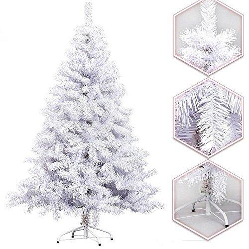 Hengda® 220cm Künstlicher Weihnachtsbaum Christbaum Dekobaum Kunsttanne mit Eisen-Fuß WEIß