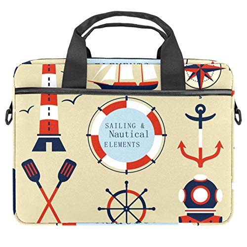 Laptop Bag Sailing Nautical Lighthouse Compass Notebook Sleeve with Handle 13.4-14.5 inches Carrying Shoulder Bag Briefcase