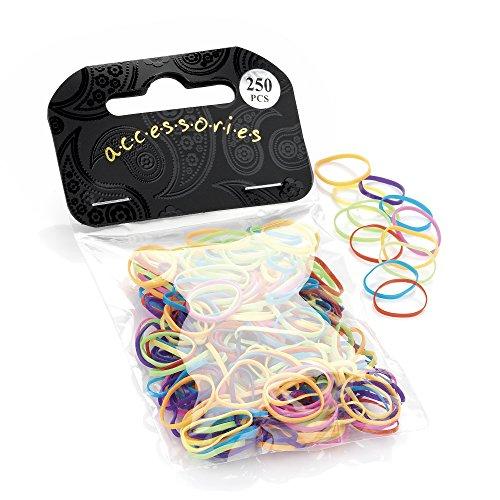 250 Small Mini Elastics Rubber Hair Bands Braiding Plaits Dreads in Multi Bright