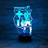 Luz de Noche 3D Anime Ilusión Lámparas de decoración LED 3D Lámpara de Regalo para Luz de Dormitorio Sensor táctil LED Lámpara de EscritorioLuz de regalo con logo del equipo Barcelona Messi