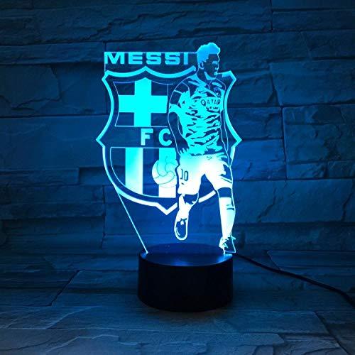Luz de noche 3D Lámpara de mesa de ilusión del equipo de Barcelona Messi LED 7 color control remoto táctil lámpara de estado de ánimo de color USB lámpara de mesita de noche para el hogar