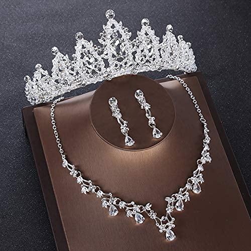 Corazón Cristal Conjuntos de joyas nupciales Boda Circón cúbico Corona Tiaras Pendiente Gargantilla Conjunto de collar Conjunto de joyas de cuentas africanas (Color de metal: Estilo D Juego de