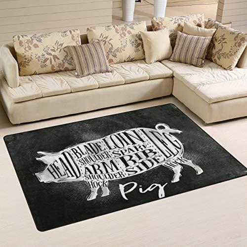 Alfombra antideslizante para decoración del hogar, diseño de cerdo de dibujos animados, 78,7 x 50,8 cm