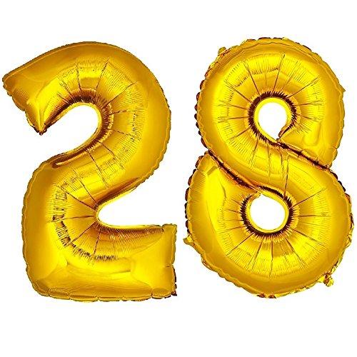 DekoRex® 28 Globo en Oro 120cm de Alto decoración cumpleaños para Aire y Helio número