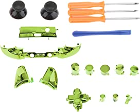 Prettyia Plastic Thumbsticks Bullet ABXY Mod Buttons with Screwdriver Kit for Microsoft Xbox One S Controllers Chrome Green