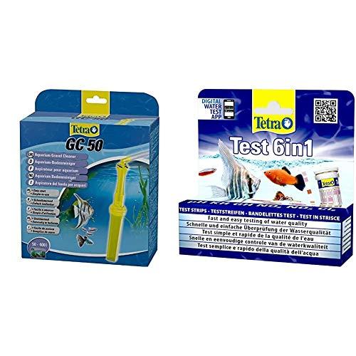 Tetra GC Aquarien-Bodenreiniger (mit Schlauch, geeignet für Aquarien von 50 – 400 Liter) & Test 6in1 Wassertest, schnelle und einfache Überprüfung der Wasserqualität, 1 Dose (25 Stk.)