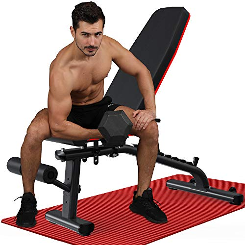 KingStone Adjustable Weight Benches for Full Body Workout with Ultrawide Frame Strength Training Incline Flat Decline Exercise Workout Benches Press for Home Gym Black