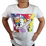 T-Shirt Enfant Licorne Dab avec Tatouage Je suis Une Licorne sur Le Bras (5/6 Ans)