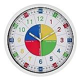 Genbaly Reloj de pared infantil, 30 cm, con mecanismo silencioso y diseño colorido, lectura de la hora