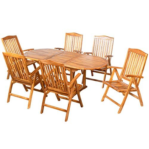 ib style ROYAL TEAK garden furniture set | extendable table 150-200 x 90 cm | 6 folding chairs with armrests | certified teak | water based treated