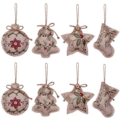 YOSICHY Rustic Christmas Tree Ornaments Stocking Decorations Burlap Country Christmas Stocking Ball Tree Bell with Red and Green Holly Leaves for Holiday Party Decor-8PCS