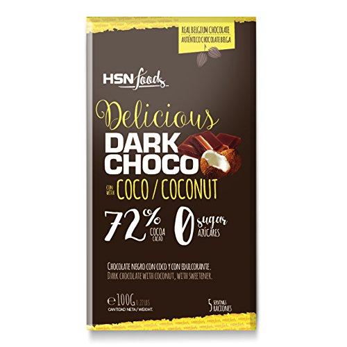 Tableta de Chocolate con Coco de HSN | Dark Coconut Chocolate | 72% Cacao y 5% Coco | Snack Fitness Saludable | Vegetariano, Sin Azúcar, Sin Gluten, Sin Aceite de Palma, Sin Grasa Trans, 100g