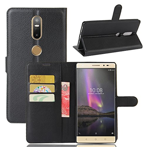 Qiaogle Teléfono Case - Funda de PU Cuero Billetera Clamshell Carcasa Cover para Lenovo Phab 2 Plus (6.4 Pulgadas) - FC02 / Negro Estilo