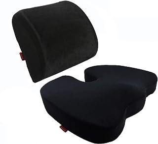 Curious fish Memory Foam Seat Cushion Lumbar Back Support Pillow Lumbar Respaldo Almohada Cojín terapéutico Ortopédico Ergonómico Espuma Memoria Prevención(Cojín del asiento+Soporte lumbar,Negro)