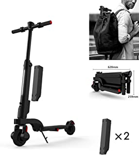JIAOHJ Adult Electric Scooter,Foldable Electric Scooter and Detachable Lithium Battery with USB Mobile Phone Charging and LED Headlights, Foldable for Loading into a Backpack