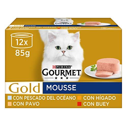 Purina Gourmet Gold Mousse comida para gatos Surtido sabores 8 x [12 x 85 g] ⭐