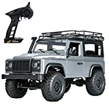 Peahog 1:12 2.4G 4WD RC Car Off-Road High-Speed Vehicle Minitary Truck Climb Rock Crawler Electric Hobby Grade RTR Toy for Kids Over 14 Years Old and Adults (Grey)