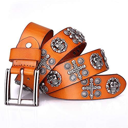 Yishelle-Belt Cinturón de Cuero Tachonado Cinturón de Pantalones Vaqueros de Calavera Unisex Rectangular Cinturón Punk de Cuero con Hebilla de Plata Casual Cowboy Belts para Jeans