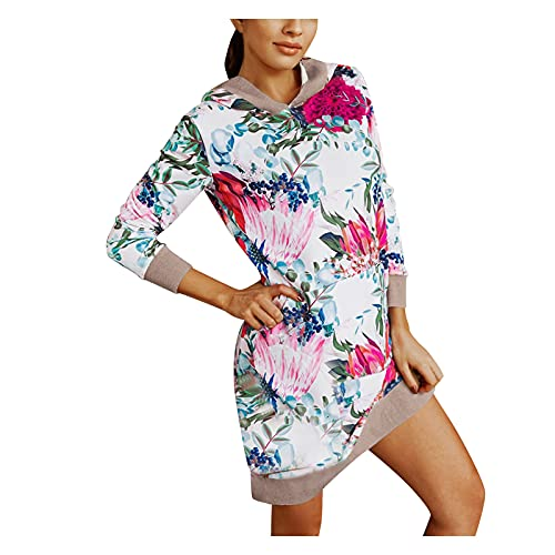 Letdown Women's Fashion Sweatshirts Drawstring Hoodies Tops Long Sleeve Leopard Print Long Tunic Blouse Hooded Pullover Dress White
