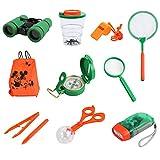 Proster Kinder Outdoor Exploration Kit Spielzeug für Kinder mit Fernglas Taschenlampe Kompass Pfeife Lupe Rucksack Pinzette Schmetterlingsnetz Beobachtung Box...