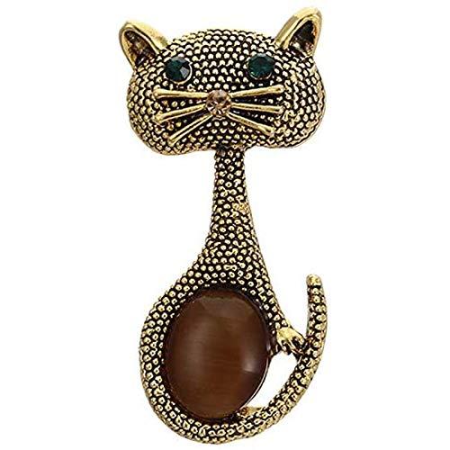 Oaisij Pin de Broche de Ojo de Gato de ópalo Vintage para Broche de Animal Lindo para Mujer en Plata de Boda