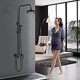 Onyzpily Sistema de ducha con 3 funciones, color negro, incluye alcachofa de ducha, ducha de mano, barra de ducha ajustable, panel de ducha, columna de ducha, grifo de ducha