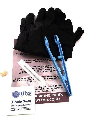 Dctattoo 1.6mm (14g) Stérile Pro Lame Aiguille Kit Piercing pour Industriel Échafaudage Piercing. le Kit Inclut Échafaudage Barre Pièce de Bijoux
