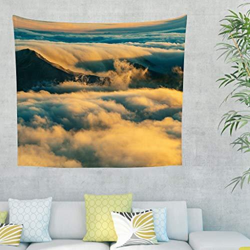 Gamoii Tapiz de pared con puesta de sol, montañas, nubes, tapiz de pared, tapiz, para picnic, playa, meditación, yoga, colchonetas cómodas, decoración de pared, color blanco, 230 x 150 cm