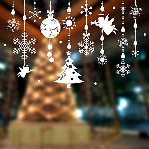 GUDOJK Muursticker diy thuis decor witte kerst klokken gordijn wrongel muur stickers huis raam glas decoratie
