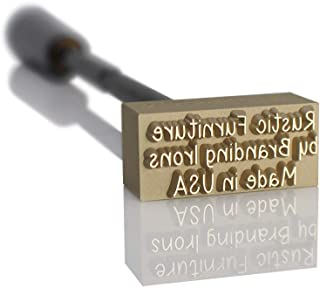 Custom Fire-Heated Branding Iron with No Border Includes Fire-Heated Handle - Standard Size