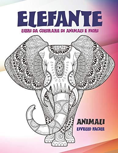 Libri da colorare di animali e fiori - Livello facile - Animali - Elefante