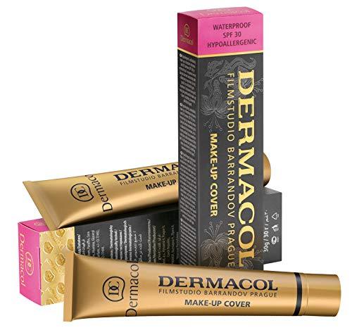 Dermacol DC Base Makeup Cover Total | Maquillaje Corrector Waterproof SPF 30 | Cubre Tatuajes, Cicatrices, Acné, Imperfecciones, Manchas en la Piel de la Cara y Cuerpo | Liquido - Mate Natural