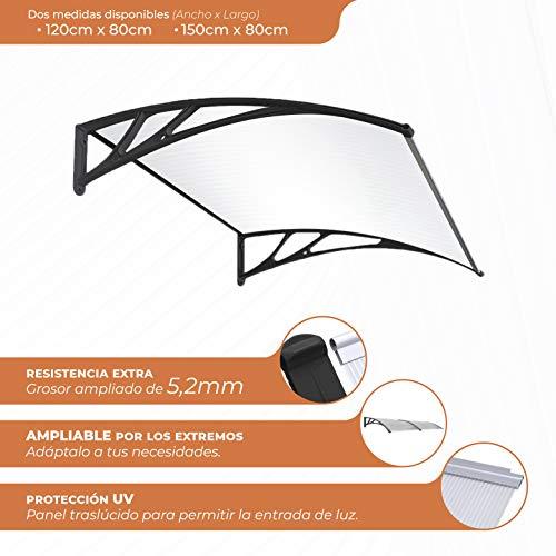 SmartSun Marquesina Easy Black 150x80cm. Grosor 5,2mm extra resistente. Tejadillo puerta protección