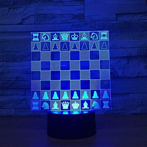 Lámpara de mesa de ilusión óptica 3D, tablero de ajedrez, decoración de luz USB, juguetes de dormitorio, cumpleaños, acrílico, cabecera de bebé, regalos para habitación de niños-16 colors remote