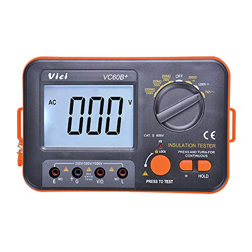 VICI Digital Insulation Resistance Tester Megohmmeter Meter VC60B+ with Large LCD Display