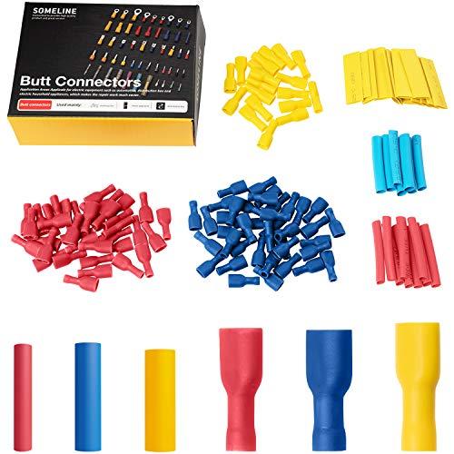 Isolierte Kabelschuhe Set Kabelverbinder Flachstecker Flachsteckhülse vollisoliert Steckverbinder für 0.5-6.0 mm² Kabel SOMELINE Stoßverbinder 100 Stück Drei Größen