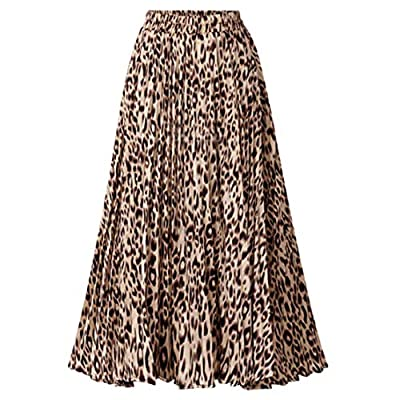 CHARTOU Womens Chic Elastic High Waisted A Line Leopard Print Pleated Shirring Midi-Long Skirt (Yellow, Small)