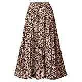 CHARTOU Womens Chic Elastic High Waisted A Line Leopard Print Pleated Shirring Midi-Long Skirt (Dark Yellow, Small)