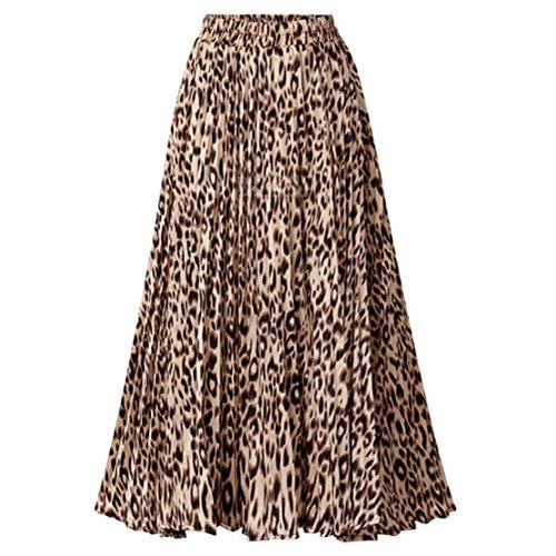 CHARTOU Womens Chic Elastic High Waisted A Line Leopard Print Pleated Shirring Midi-Long Skirt (Dark Yellow, Medium)