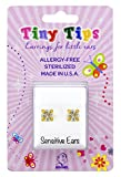 STUDEX Tiny Tips Gold Plated Cubic Zirconia Stud Earrings Tiffany Setting for Little Sensitive Ears
