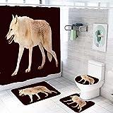 MQWEMJ Cortinas de Ducha, Lobo Animal Amarillo negro150×180 cm con alfombras Antideslizantes, Tapa de Inodoro y Alfombrilla de baño, Cortina de Ducha con 12 Ganchos, Tela Impermeable