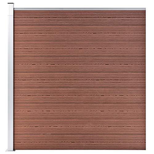 vidaXL Pannello Recinzione per Esterni con Pali Robusto Elegante Barriera da Giardino Recinto Intimità Sicurezza in WPC 180x186 cm Marrone