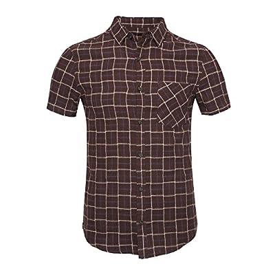 Deborri Men's Button Down Long/Short Sleeve Plaid Flannel Shirt
