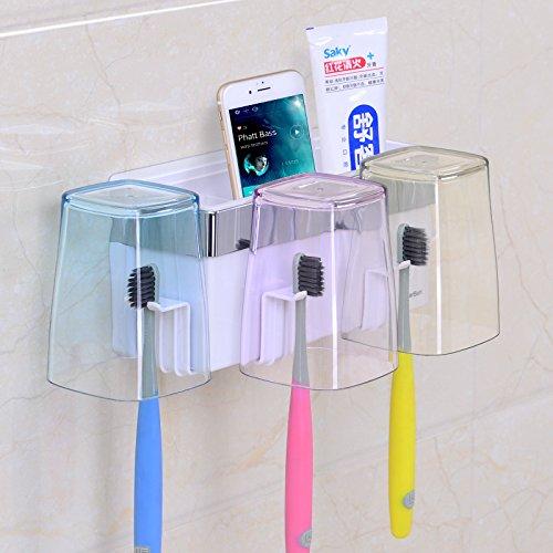 Creative Mur support de brosse à dents Brosse à dents Mug Lot de trois trous Sucker-free Dentifrice
