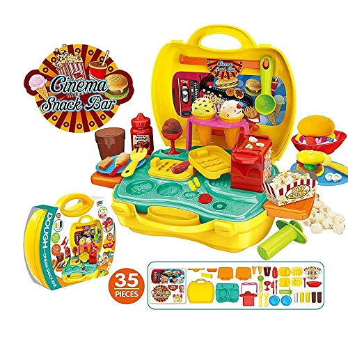 Deardeer Kids Play Dough Cinema Snack Bar Play Set 35 Pcs Pretend Play House Toy Kit with Dough and Moulds in a Portable Case