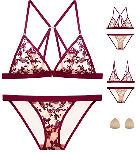 The victory of cupid Womens Embroidered Flower Sponge Cushion Front Buckle Bra Set Underwear Teddy Babydoll Bralette