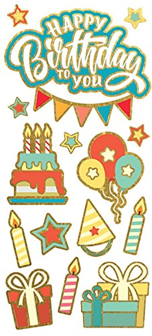 Paper House Productions Stickers Faux Enamel, Birthday (3 Pack), 15 Piece