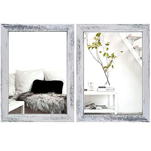Meetart Espejo de pared rectangular de 30 x 40 cm para salón moderno pared espejo dormitorio baño cocina entrada espejo vertical u horizontal (2 piezas) textura blanca antigua