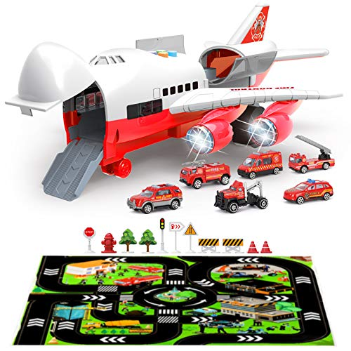 BeebeeRun Coche Juguetes Niños,Camion de Bomberos Coche Juguetes,Vehículo de Juguete para Niños,Aviones De Juguete Transporte de la policía Juguete con luz de Sonido