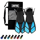 BPS Short Adjustable Swim Fins - Open-Toe and Open-Heel Design - for Diving, Snorkeling, Scuba Diving - Swim Flippers for Kids and Adults - Unisex - Comes with Bag for Storage (Aqua Blue - XXS/XS)